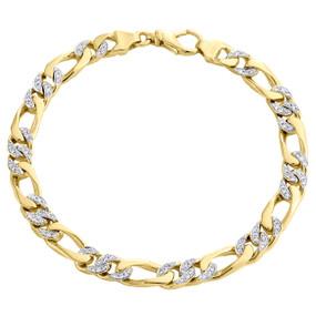"10K Yellow Gold 6.50mm Handset Diamond 3D Figaro Link Bracelet 8.50"" | 0.94 CT."