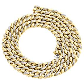 "10K Yellow Gold 9.75mm Diamond Miami Cuban 3D Choker Chain 20"" Necklace 2.70 CT."