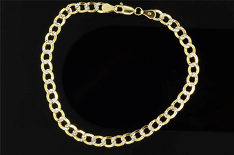 10K Mens 5mm Yellow Gold Diamond Cut Miami Pave Cuban Link Bracelet 8 Inch