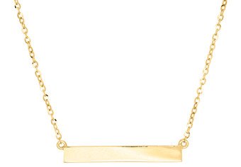 """10K Yellow Gold Horizontal Engravable Nameplate Bar Necklace Rolo Chain 17"""""""