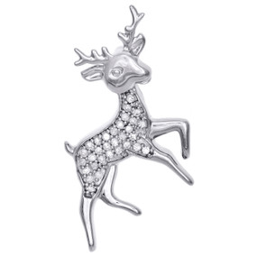 ".925 Sterling Silver Round Diamond Cluster Reindeer Pendant 1.10 "" Charm 0.17 CT"