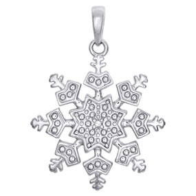 ".925 Sterling Silver Round Diamond Snowflake Pendant 1.15"" Charm 0.01 CT."