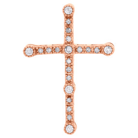 "10K Rose Gold Bezel Set Diamond Cross Slide Pendant 1.10"" Charm 0.25 CT."