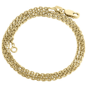 14K Yellow Gold Oval Rolo Hermes Chain 1.50mm Necklace Lobster Clasp 16-24 Inch