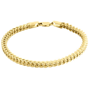 10K Yellow Gold 4.50mm Hollow Franco 3D Box Link Bracelet Lobster Clasp 9.50""