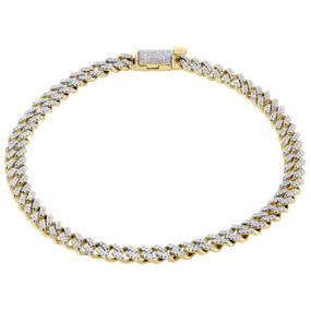 "10K Yellow Gold 5.50mm Diamond Miami Cuban Link Bracelet 8.50"" Box Clasp 0.84 CT"