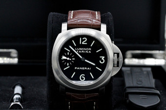 Panerai PAM 177 44mm Titanium Luminor Marina Brown  Strap with Box and Papers
