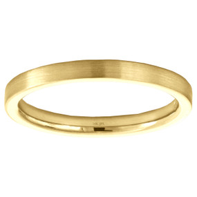 14K Yellow Gold 2mm Satin Finish Flat Wedding Band Ring Size 4