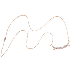 """10K Rose Gold Round Diamond Braided Infinity Necklace 20"""" Cable Chain 0.50 CT."""