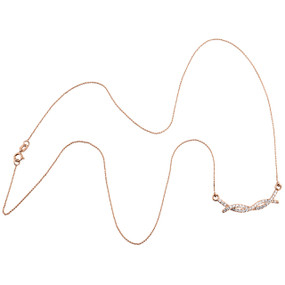 """10K Rose Gold Round Diamond Braided Infinity Necklace 19"""" Cable Chain 0.25 CT."""