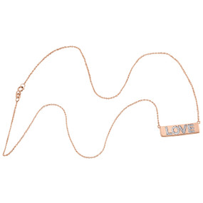 """10K Rose Gold Round Diamond Pave Set LOVE Bar Necklace 19"""" Cable Chain 0.13 CT."""