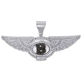 10K White Gold Mens Genuine Diamond Bentley Letter B Pendant Mens Charm 1.25 CT.