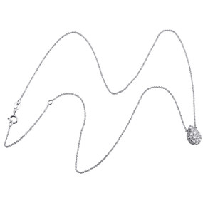 """10K White Gold Cluster Diamond Tear Drop Charm Necklace 19"""" Cable Chain 0.50 CT."""