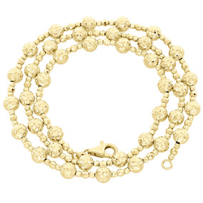 14K Yellow Gold 5mm Candy / Moon Cut Italian Bead Chain Fancy Necklace 20 Inches