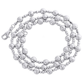 14KT White Gold 5mm Candy / Moon Cut Italian Bead Chain Necklace 20 Inches