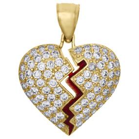 """10K Yellow Gold Heart Break Red Enamel Break / Split Pendant 0.85"""" Pave CZ Charm"""