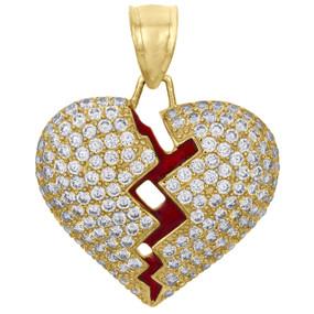 """10K Yellow Gold Heart Break Red Enamel Break / Split Pendant 1.15"""" Pave CZ Charm"""