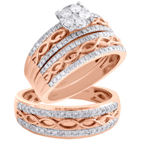 10K Rose Gold Diamond Flower Infinity Bridal Set + Wedding Bands Trio Set 1 CT.