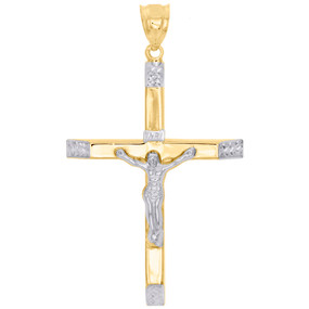 "1/10th 10K Yellow Gold Bonded Two Tone Jesus Crucifix Cross Pendant 2.40"" Charm"