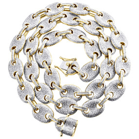 "10K Yellow Gold 11.25mm Diamond 3D Puff Gucci Chain 22"" Choker Necklace 7.50 CT."
