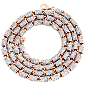 "10K Rose Gold 4.75mm Diamond Barrel 3D Chain 24"" Bullet Link Necklace 17.88 CT."
