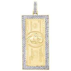 "10K Yellow Gold Diamond US 100 Dollar Bill Currency Pendant 2"" Charm 0.60 CT."
