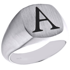 Solid 10K White Gold Initial Letter A  Statement Pinky Signet Ring 14.50mm Band