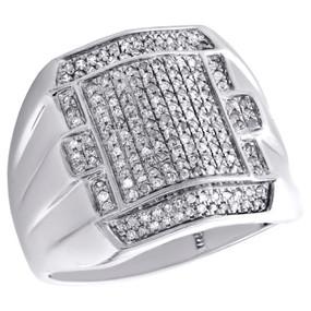 10K White Gold Mens Genuine Diamond Statement Pave Pinky Ring 19mm Band 1/2 CT.