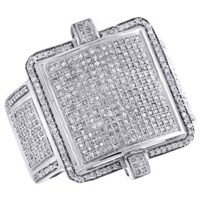 10K White Gold Mens Diamond Double Frame Step Pave Pinky Ring 23mm Band 1.30 CT.
