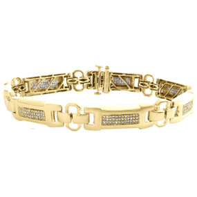 "10K Yellow Gold 10mm Round Diamond Fancy Link Statement 9"" Pave Bracelet 1.10 CT"