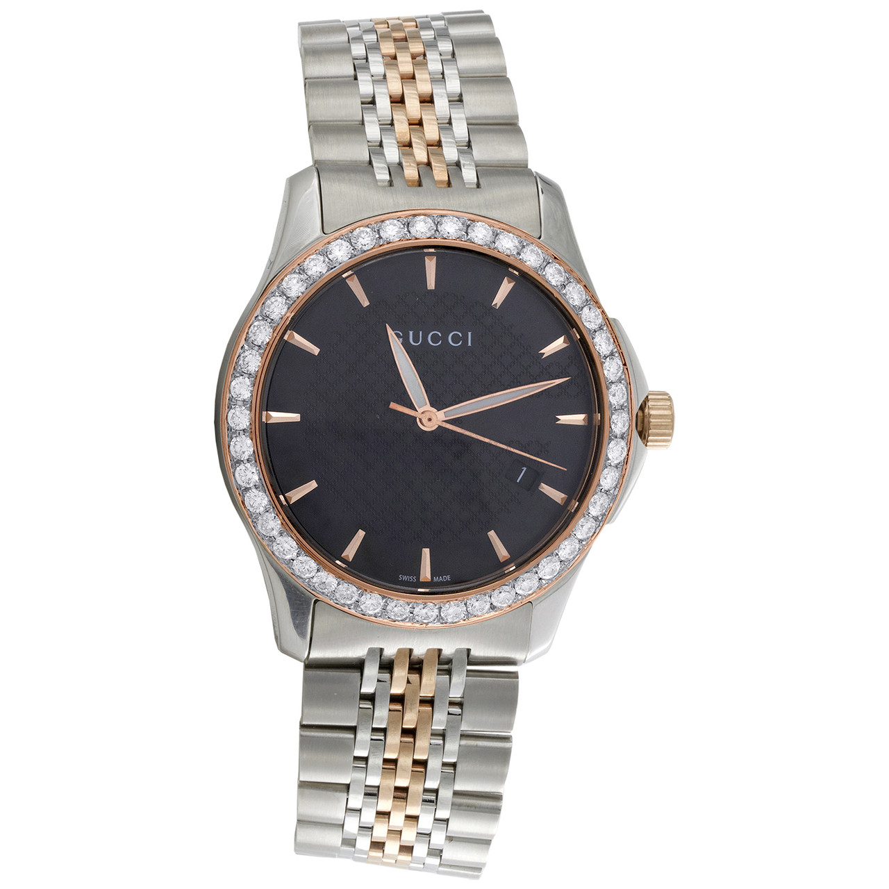 5f6a412b4bd ... Gucci Ya126410 Diamond Watch G-Timeless 38mm Two Tone Rose   S. Steel  PVD 2 CT. Image 1