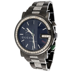 Diamond Gucci Watch Mens 101G Ya101331 Black PVD Chronograph Iced Band 4 CT.