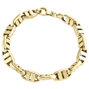 Solid 14K Yellow Gold 9.50mm Fancy Statement Link Mens Italian Made Bracelet 9""
