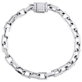 """10K White Gold Diamond Rectangle 5.75mm Hermes Link 8"""" Mens Bracelet 1.83 CT."""