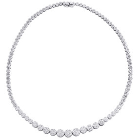 "14K White Gold Diamond Flower Setting Circle Tennis Link 18.5"" Necklace 5 CT."