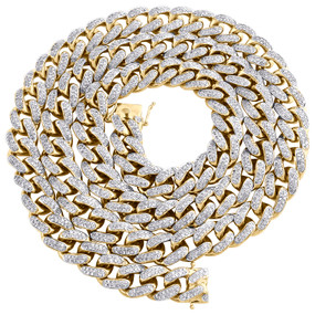"10K Yellow Gold 10.75mm Miami Cuban Link Diamond Chain 28"" Necklace 13.20 CT."