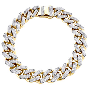 10K Yellow Gold Hollow 13mm Miami Cuban Link Cubic Zirconia CZ Bracelet 9 Inches