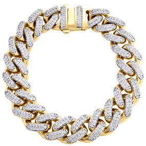 10K Yellow Gold Hollow 15mm Miami Cuban Link Cubic Zirconia CZ Bracelet 9 Inches