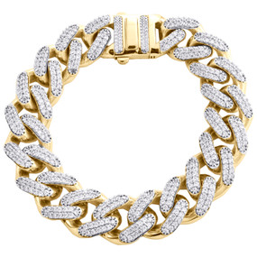 10K Yellow Gold Hollow 17mm Miami Cuban Link Cubic Zirconia CZ Bracelet 9 Inches