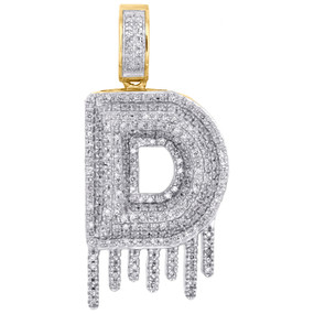 10K Yellow Gold Diamond D Initial Bubble Drip Pendant Pave Dome Charm 0.75 CT.