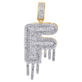 10K Yellow Gold Diamond F Initial Bubble Drip Pendant Pave Dome Charm 0.62 CT.