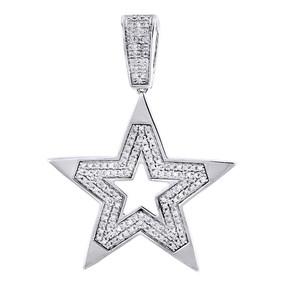 10K White Gold 5 Point Diamond Star Pendant Mini Fashion Pave Charm 0.59 Tcw.