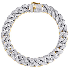 "10K Yellow Gold 14mm Diamond Solid Miami Cuban Bracelet 9.50"" Pave Link 7.75 CT."
