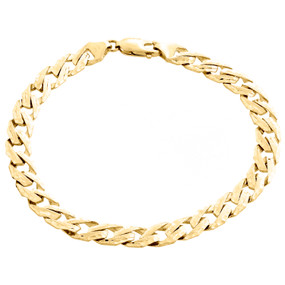 10K Yellow Gold Solid Fancy Link 7mm Brushed Matte Texture Mens Bracelet 8.5""
