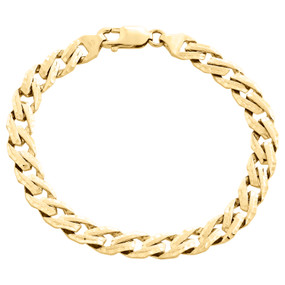 10K Yellow Gold Solid Fancy Link 7.75mm Brushed Matte Texture Mens Bracelet 8.5""