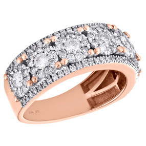 10K Rose Gold Flower Set Diamond Mens Wedding Band Solitaire Cluster Ring 2 CT.