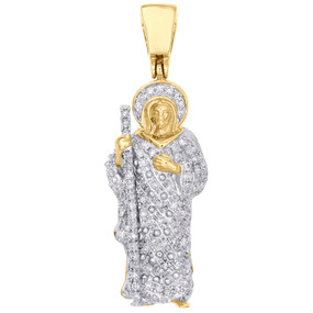"14K Yellow Gold Diamond Jesus Walking Shepherds Staff Pendant 1.35"" Charm 1/3 CT"