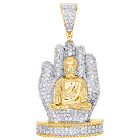 "10K Yellow Gold Diamond Buddha Hand Statue Pendant 1.85"" Mens Pave Charm 1.75 CT"