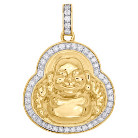 "10K Yellow Gold Diamond 3D Laughing Prosperity Buddha 1.65"" Pave Charm 1.25 CT."