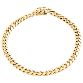 Mens Real 14K Yellow Gold 6mm Solid Miami Cuban Link Bracelet Heavy Box Clasp 9""